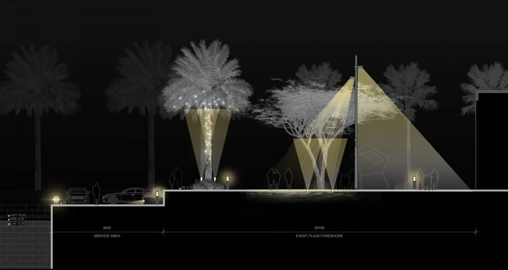 lighting concept section by djcoalition lighting designers