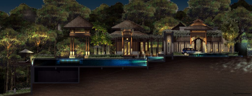 landscape lighting rendering by djcoalition lighting designers